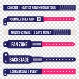 Concert bracelets for entrance to the event. Set of wristbands for entrance to the festival, concert. Vector bracelet mockup Stock Image