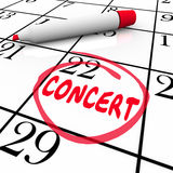 Concert Calendar Reminder Schedule Singing Music Performance Eve. Concert word on a calendar or schedule reminding you of a performance event for a singer Royalty Free Stock Photography