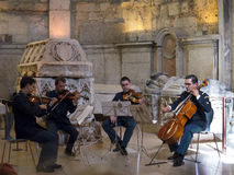 Concert in the The Carmo  Ruins and Archaeological Museum,Largo de Carmo Lisbon Portugal. The Convent of Our Lady of Mount Carmel is a Portuguese historical Stock Image