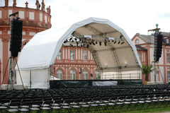 Concert at Castle Biebrich. Wiesbaden, Germany - July 14, 2016: An established concert venue with rows of seats for a classical concert at the grounds of the Stock Photography