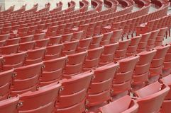Concert chairs. Red chairs in rows used for concerts Stock Images