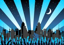 Concert in the city. Concert crowd and woman singing over starry city skyline Stock Image