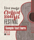 Concert of classical live music. Vector banner for the concert of classical live music with a guitar Royalty Free Stock Image