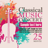Concert of classical music. Music concert poster for a concert of classical music with the image of a violin on a background of color splashes and drops vector illustration