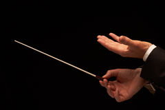 Concert conductor hands with baton stock photos