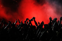 Concert Crowd. Cheering crowd at concert, musicians on the stage Royalty Free Stock Photography