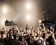 Concert Crowd. Cheering crowd at concert (open air Stock Photo