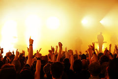 Concert Crowd. Cheering crowd at concert, bright red lights from stage Stock Photos