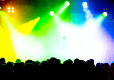 Concert Crowd. In front of colorful stage lights Stock Images