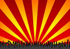 Concert crowd. With arms up over colorful background Royalty Free Stock Photos