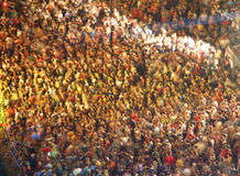 Concert crowd. Lot people on concert with light show stock images