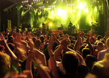 Concert Crowd. Crowd on rock concert. Cheering crowd. Rock concert stage Stock Photography