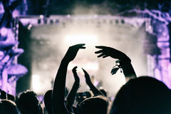 Concert crowd applauding. At a music festival Stock Photo