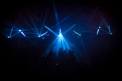 Concert crowd in front of LED stage lighting effects Royalty Free Stock Photos