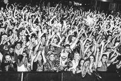 Concert Crowd. With hands in the air Stock Image