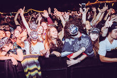 Concert Crowd. With hands in the air stock photos