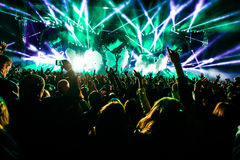 Concert crowd with high lights, stage, co2 royalty free stock image
