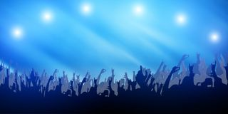 Concert Crowd Party Hand and Music Festival Abstract on Light Blue Background. / Hobbies and Music Art Stock Image