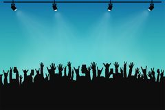 Concert crowd, people silhouettes. Hands with different gestures and smartphones in raised hands. Spotlights on stage. Concert event, poster and ticket stock illustration