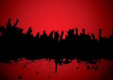 Concert crowd red. Red and black silhouette of a rock concert crowd Royalty Free Stock Photos