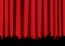 Concert crowd red curtain. Red velvet concert stage curtain and silhouette of crowd hands Stock Photo