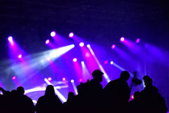 Concert crowd. Silhouettes of partying people Royalty Free Stock Photography