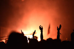 Concert crowd. Silhouettes of partying people Stock Image