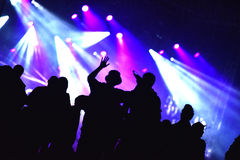 Concert crowd. Silhouettes of partying people Stock Images