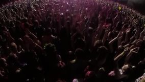 Concert, dance music in performance work, crowd of people, hands up stock video footage