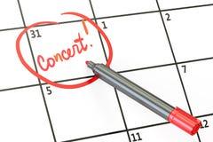 Concert date on calendar concept, 3D. Rendering Stock Image