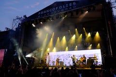 Concert de chanteur français populal Zaz sur le festival de Francofolies dans Blagoevgrad, Bulgarie 18 06 2016 Photo stock