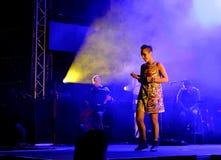 Concert de chanteur français populal Zaz sur le festival de Francofolies dans Blagoevgrad, Bulgarie 18 06 2016 Images stock