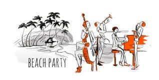 Concert de jazz sur la plage Jazz-band et bord de mer avec des palmiers Photo stock