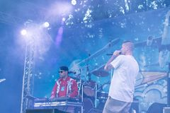 Concert de l'artiste rap ukrainien Yarmak May 27, 2018 au festival à Tcherkassy, l'Ukraine Photo stock