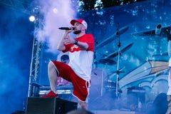 Concert de l'artiste rap ukrainien Yarmak May 27, 2018 au festival à Tcherkassy, l'Ukraine image libre de droits