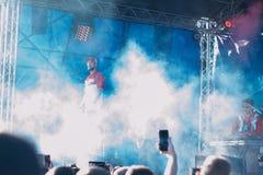Concert de l'artiste rap ukrainien Yarmak May 27, 2018 au festival à Tcherkassy, l'Ukraine photos libres de droits