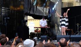 Concert de nouvelle française populal Vaguesinger de projet sur le festival de Francofolies dans Blagoevgrad, Bulgarie 18 06 2016 Images libres de droits