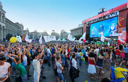 Concert de observation de gens dans la zone de passioné du football Images stock