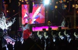 Concert de soirée du Nouveau an de ville de Varna Photographie stock
