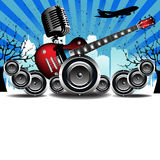 Concert design. Abstract colorful background with old microphone, red electric guitar, loudspeakers, trees, building shapes and flying plane. Urban concert theme Royalty Free Stock Images