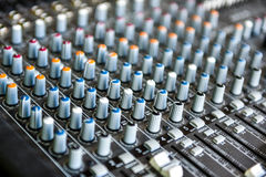 Concert or DJ Music Mixer desk Royalty Free Stock Image