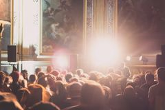 A concert of electronic music, held in a chapel, in Toulouse, France royalty free stock image