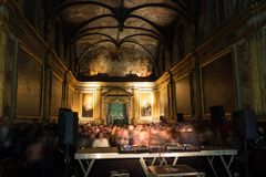 A concert of electronic music, held in a chapel, in Toulouse, France royalty free stock photo