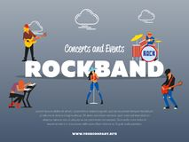 Concert and events rockband banner. Vector illustration. Singer, guitarist, drummer, solo guitarist, bassist, keyboardist characters performs on stage. Rock Royalty Free Stock Photo