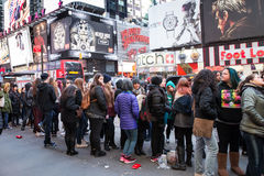 Concert Fans Times Square NYC Stock Photo