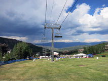 Concert field with ski lift during Wanderlust festival Royalty Free Stock Photography