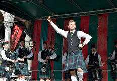 Concert of Flemish Caledonian Pipes group Royalty Free Stock Photography
