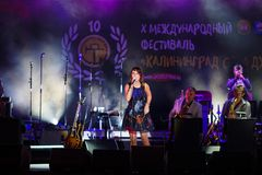Concert of french singer Zaz on the jazz festival Royalty Free Stock Photo