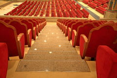 Concert hall in the church. MOSCOW, RUSSIA - JANUARY 10, 2017: Rows of red seats in the concert hall of the Cathedral of Christ the Savior Royalty Free Stock Image