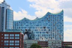 The concert hall Elbphilharmonie in Hamburg, Germany. Hamburg, Germany - July 22, 2015: View of the new concert hall Elbphilharmonie, Hamburg, Germany, Europe Stock Photo